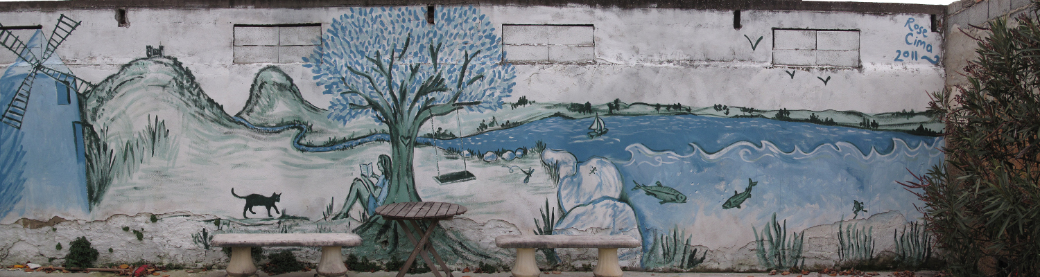 Mural at the back of the garden